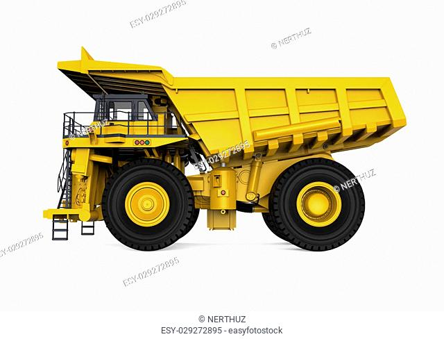 Yellow Mining Truck isolated on white background. 3D render