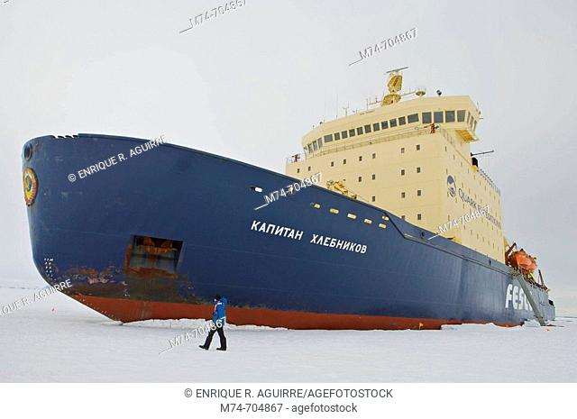 Icebreaker Kapitan Khlebnikov in the Weddel Sea, Antarctica