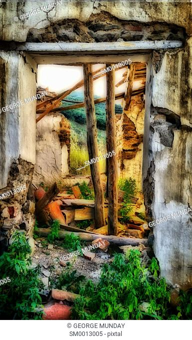 Old Deserted and abandoned Cottage,. Costa del Sol,. Malaga Province, Andalucia, Spain