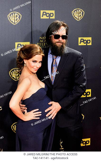 Actor Michael Patrick Jann and Lisa LoCicero (l) attends the 42nd annual Daytime Emmy Awards at Warner Bros. Studios on April 26th, 2015 in Burbank, California