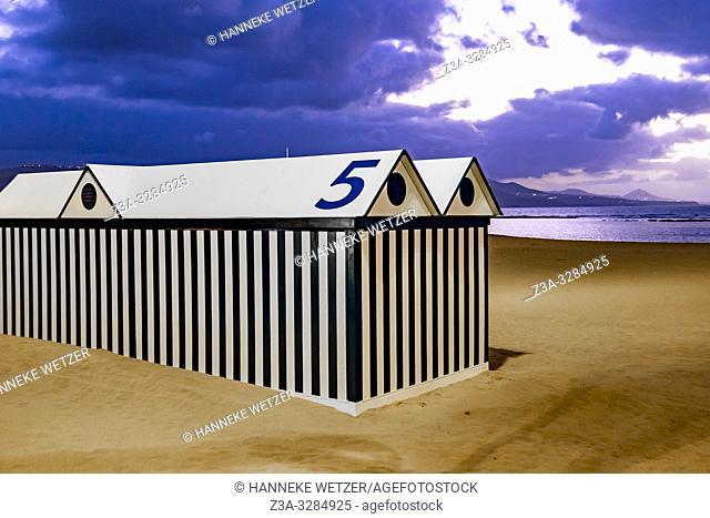 Striped beach house on the beach of Las Palmas de Gran Canaria, Canary Islands