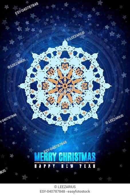 merry christmas happy new year fancy gold and white winter snowflake shape in tribal style