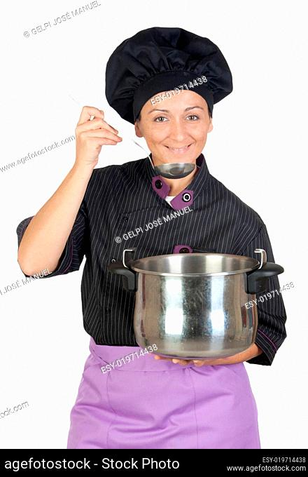 Pretty cook woman with big pot
