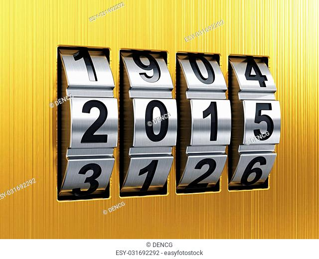 3d render of 2015 Year combination lock