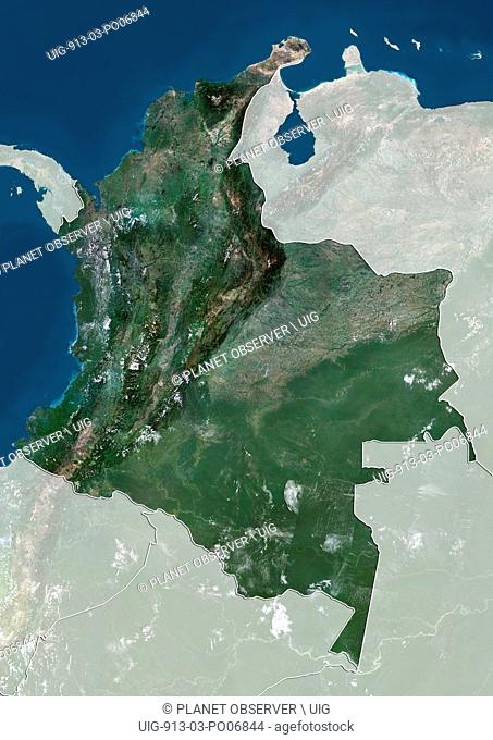 Satellite view of Colombia (with country boundaries and mask). This image was compiled from data acquired by Landsat satellites