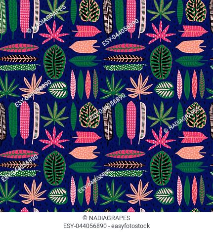 Abstract seamless pattern with tropical leaves. Hand draw texture. Vector template