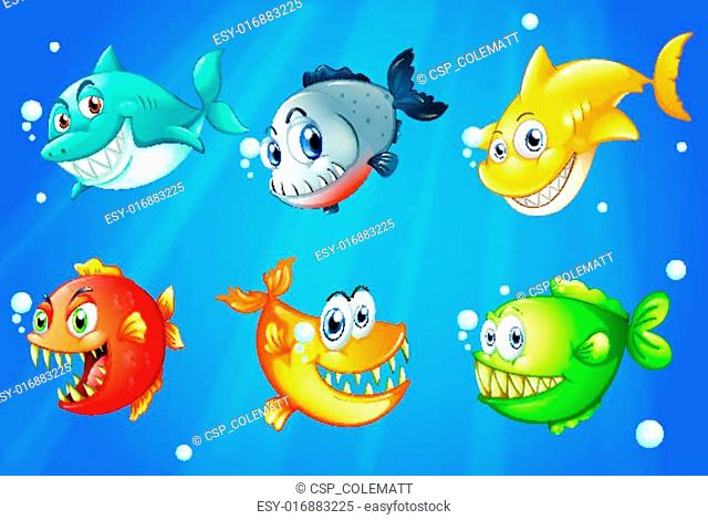 Six colorful fishes under the deep sea