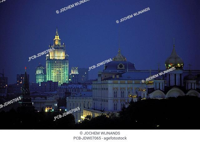 Moscow, Stalin skyscraper and Kremlin