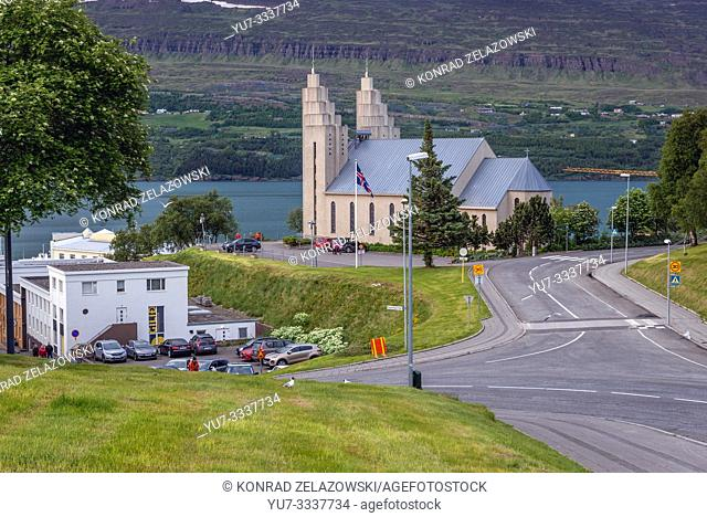 Akureyrarkirkja - Church of Akureyri city build in 1940, Capital of North Iceland