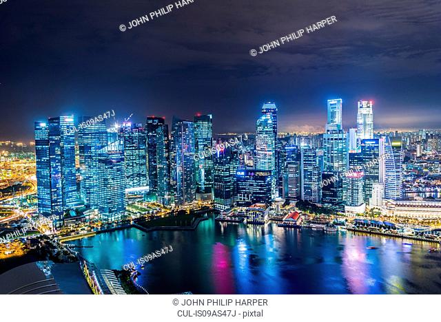 Skyline at night, Singapore
