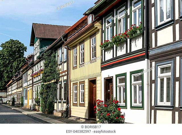 the street with ancient houses in the downtown of Vernigerode, Germany