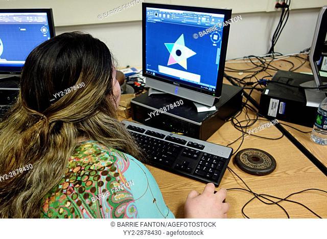 6th Grade Girl Using CAD Program to Design a Fidget Widget in Technology Class, Wellsville, New York, USA