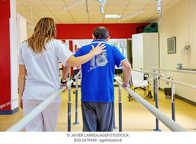 Control of walking, parallel bars, reeducation exercise, Rebahilitation, Hospital Donostia, San Sebastian, Gipuzkoa, Basque Country, Spain