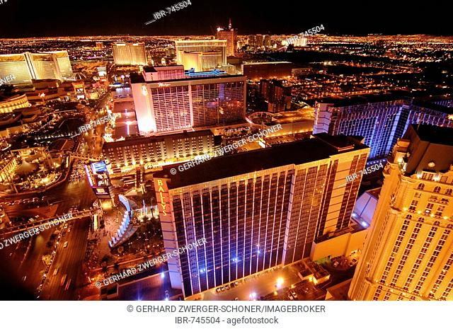 The Strip, Bally's, Treasure Island, Flamingo Hilton and Cesar's Palace casinos viewed from the Eiffel Tower replica in Las Vegas, Nevada, USA, North America