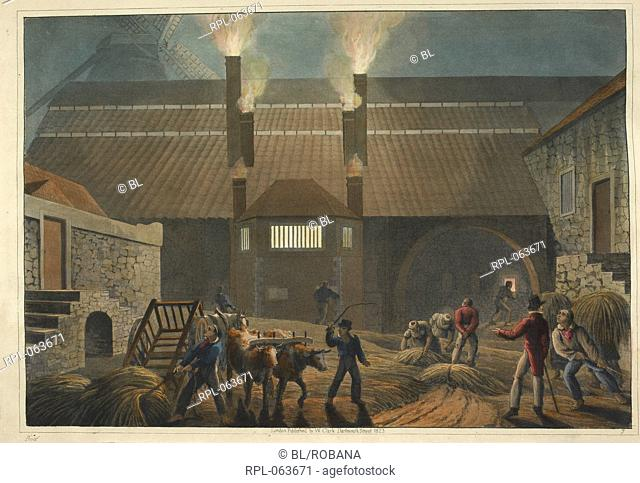 A view of the courtyard of a boiling house. Image taken from Ten Views in the Island of Antigua in which are represented the process of sugar making and the...