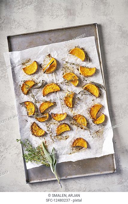 Roasted Pumpkin with sage and thyme, Light Background