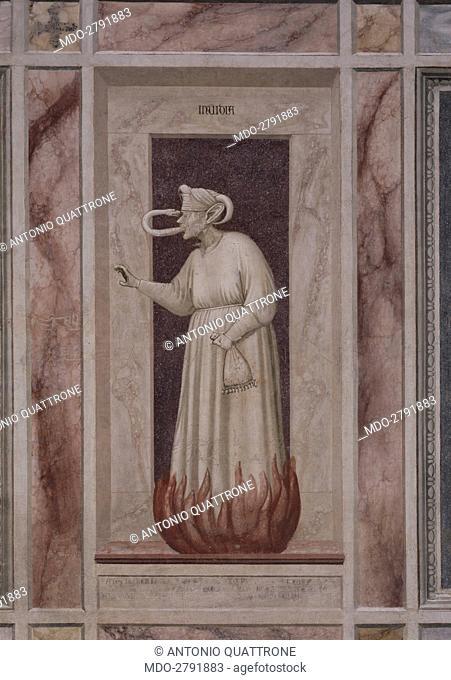 Allegory of Envy (Allegoria dell'Invidia), by Giotto, 1303-1305, 14th Century, fresco. Italy, Veneto, Padua, Scrovegni Chapel