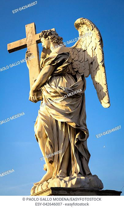 Rome, statue of an angel on the bridge in front of Castel Sant'Angelo. Conceptual useful for spirituality, christianity and faith