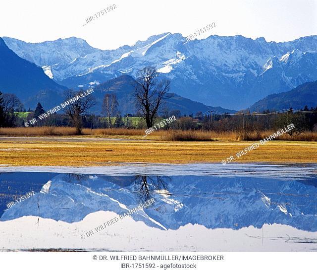 Wettersteingebirge range with Mt. Alpspitze, Upper Bavaria, Germany, Europe