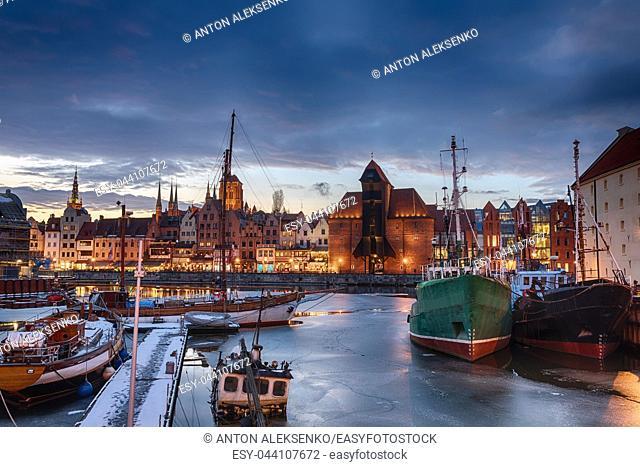 View on Zuraw in Gdansk from the port harbour of the Motlawa near Olowianka island