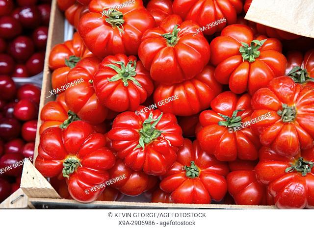 Red Tomato Background on Market Stall
