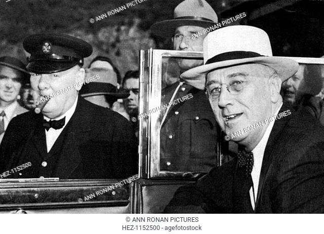 Franklin Delano Roosevelt (1882-1945), 32nd President of the USA (right) and Winston Churchill (1874-1965), British Prime Minister, meeting in Quebec in 1944