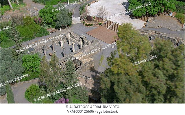 Aerial footage of the ruins of the Katsrin in the southern Golan Heights; Israel
