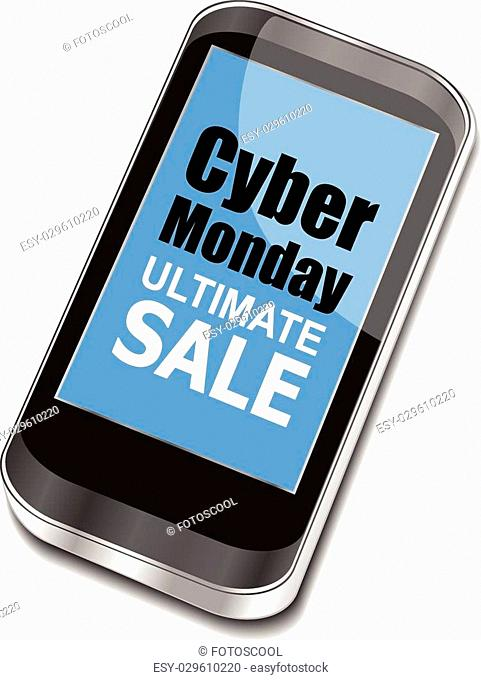 Cyber Monday Sale. Design Template for Commerce Business Website Presentation. Vector Illustration