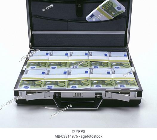 Suitcases, opened, bills, Euro,  focused  Series, money suitcases, Euro appearances, money, bills, money bundle, unit currency, currency unit, means of payment