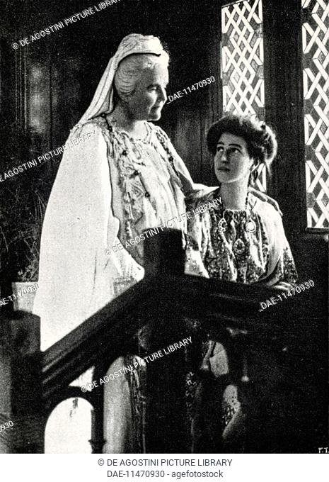 Elisabeth of Wied, Queen consort of Romania (1843-1916), known by her literary name as Carmen Sylva (left), 1913
