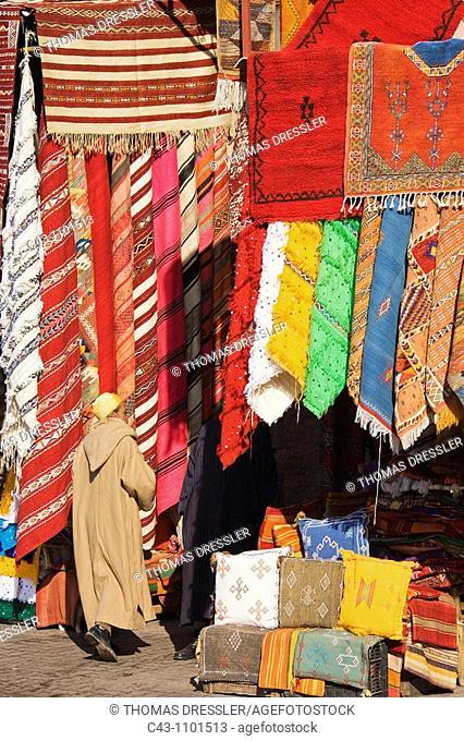 Morocco - Carpet shops in the souks of Marrakesh