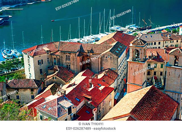Aerial view of Old Town of Kotor, Montenegro - UNESCO World Heritage Sight