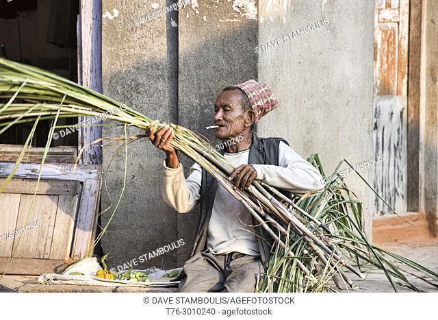 Sugar cane seller, Bhaktapur, Nepal