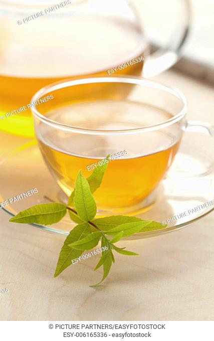 Glass cup of vervain tea