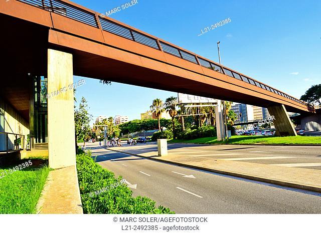 Bridge. Ildefons Cerdà Square, Barcelona, Catalonia, Spain