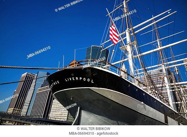 USA, New York, New York City, Lower Manhattan, skyline with Wavertree sailing ship