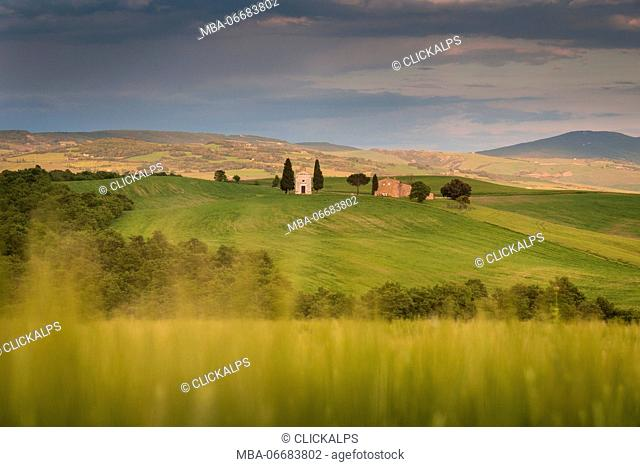 San Quirico d'Orcia, Tuscany, Italy. Vitaleta Chapel during a stormy day