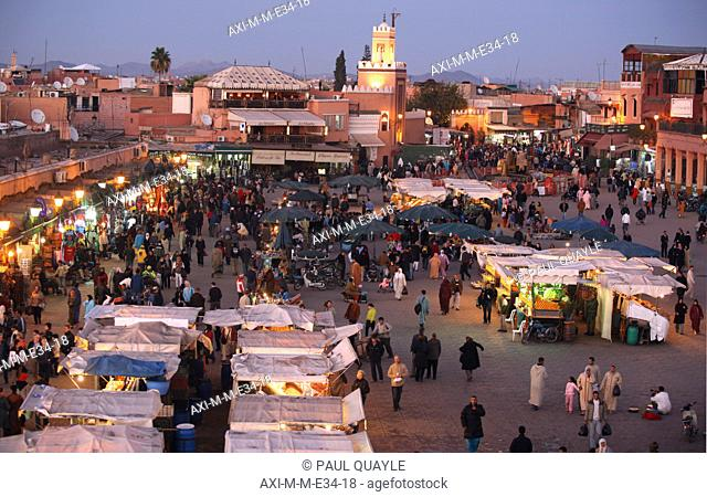 High angle view of Mosque and main square Djemma el Fna at dusk