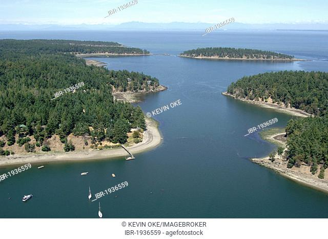 Aerial view of Horton Bay, Mayne Island, Gulf Islands, British Columbia, Canada