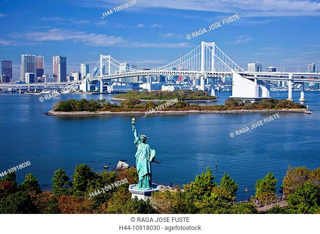 Japan, Asia, Tokyo, city, Odaiba, District, Statue of Liberty, Rainbow Bridge, bay, blue, bridge, clear, famous, flame, freedom, green, historic, liberty, new