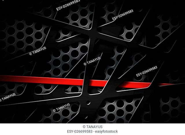 gray and red metal frame on black grille background. metal background and texture. 3d illustration material design