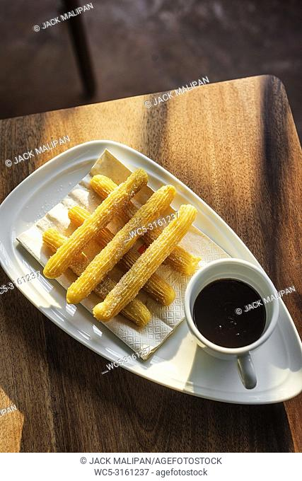 famous spanish churros with chocolate traditional spain sweet tapa breakfast