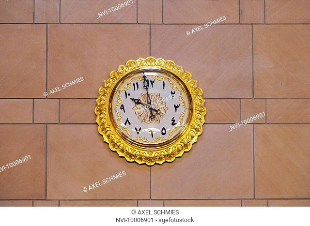 Prayer clock, Sultan Qaboos Grand Mosque, Muscat, Sultanate of Oman, Middle East