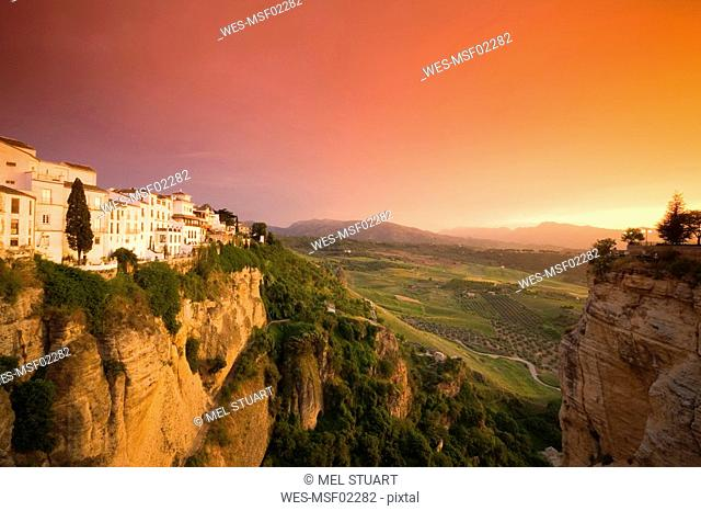 Spain, Andalusia, Ronda with afterglow