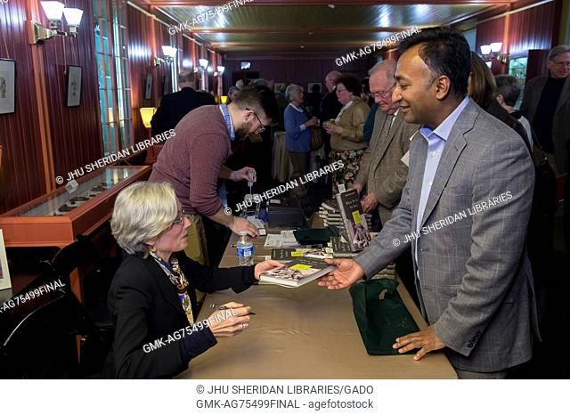 """Writer and historian Abby Smith Rumsey signs books at the Evergreen Museum and Library's Bakst Theater after discussing her new book """"""""When We Are No More: How..."""