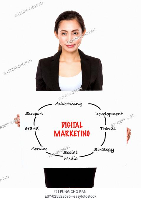 Young businesswoman showing a board showing with digital marketing concept
