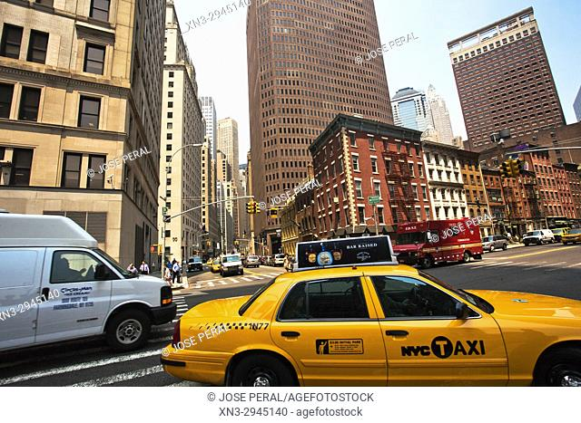Broad Street at left, Water Street, Lower Manhattan, New York, New York City, USA