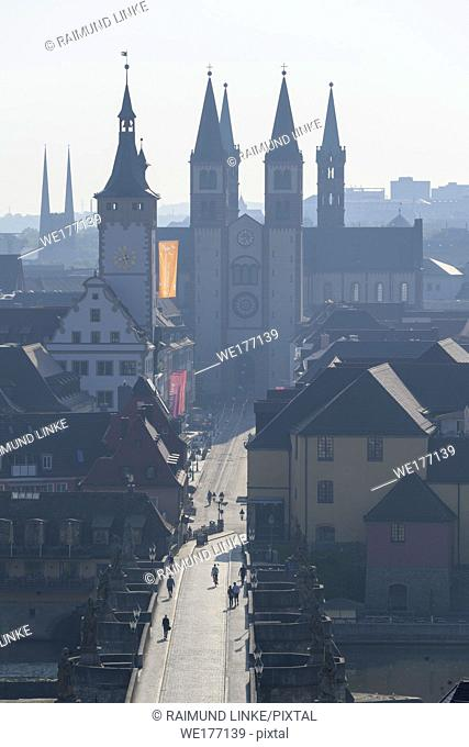 Marienberg castle view over old town and churches of Würzburg, Franconia, Bavaria, Germany