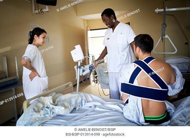 Reportage in the orthopedic service of robert bellanger hospital in france. nurses