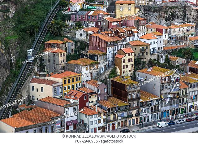 Aerial view from Dom Luis I Bridge on the old part of Porto, Portugal. View with Guindais Funicular
